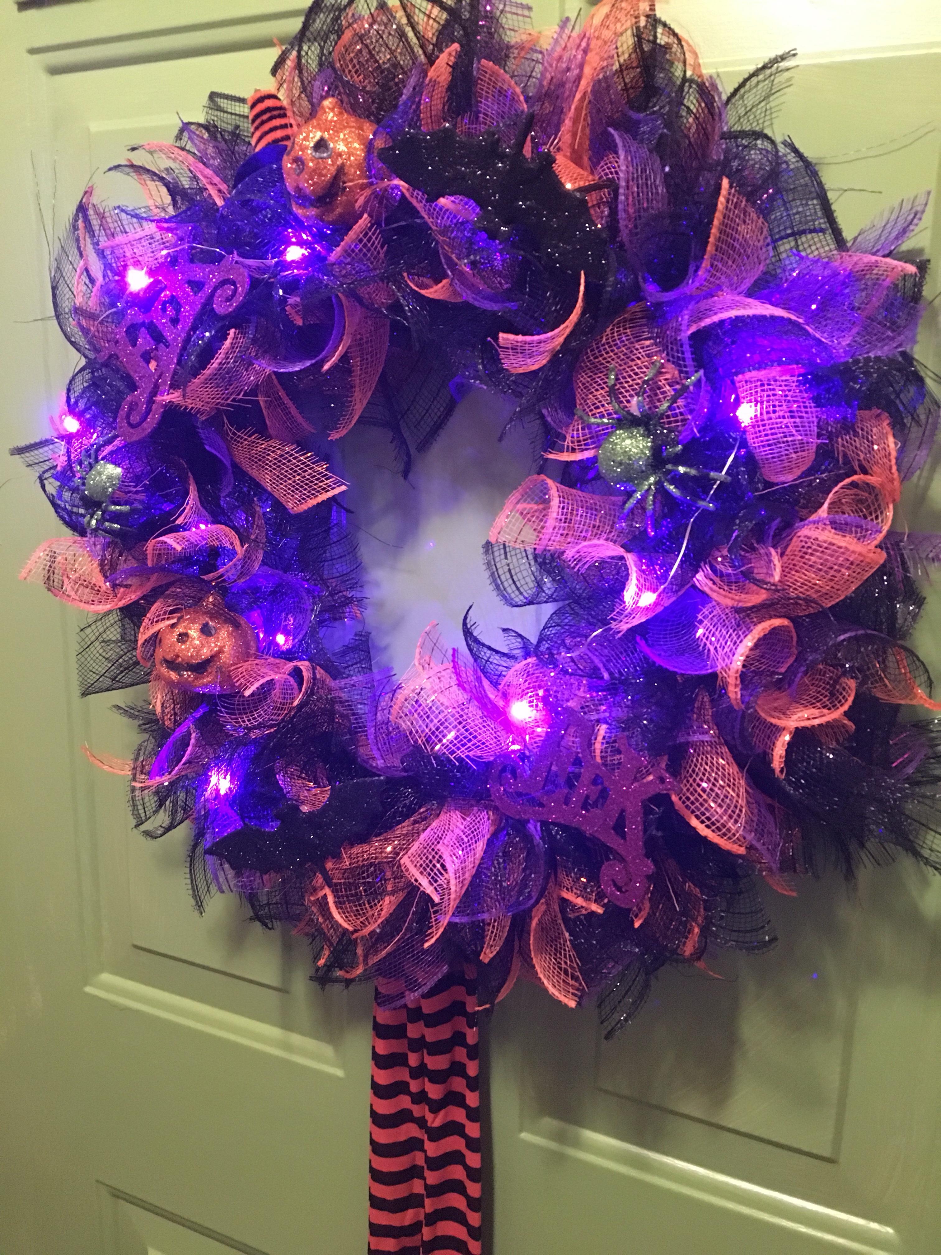 Diy Mesh Dollar Tree Halloween Wreath Halloween Head