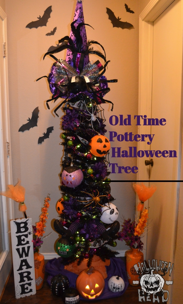 Decorating Christmas Trees For Halloween.Old Time Pottery Decorated Halloween Tree Halloween Head